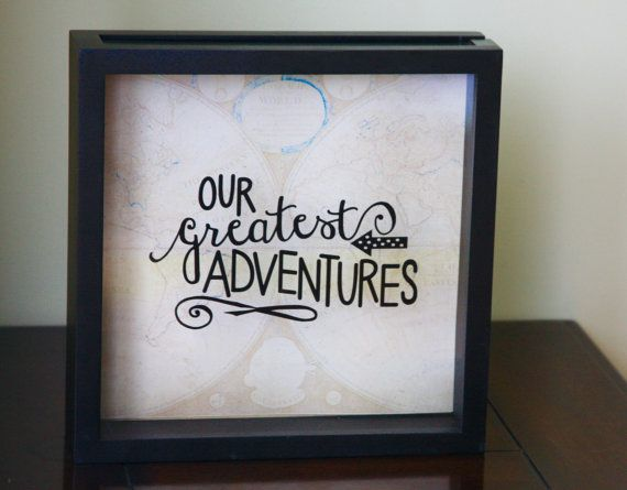 Our Adventures Shadow Box 12x12 Quot Made To Order Ticket Stub Gift For Traveler World Traveler Ticket S Ticket Shadow Box Travel Shadow Boxes Shadow Box