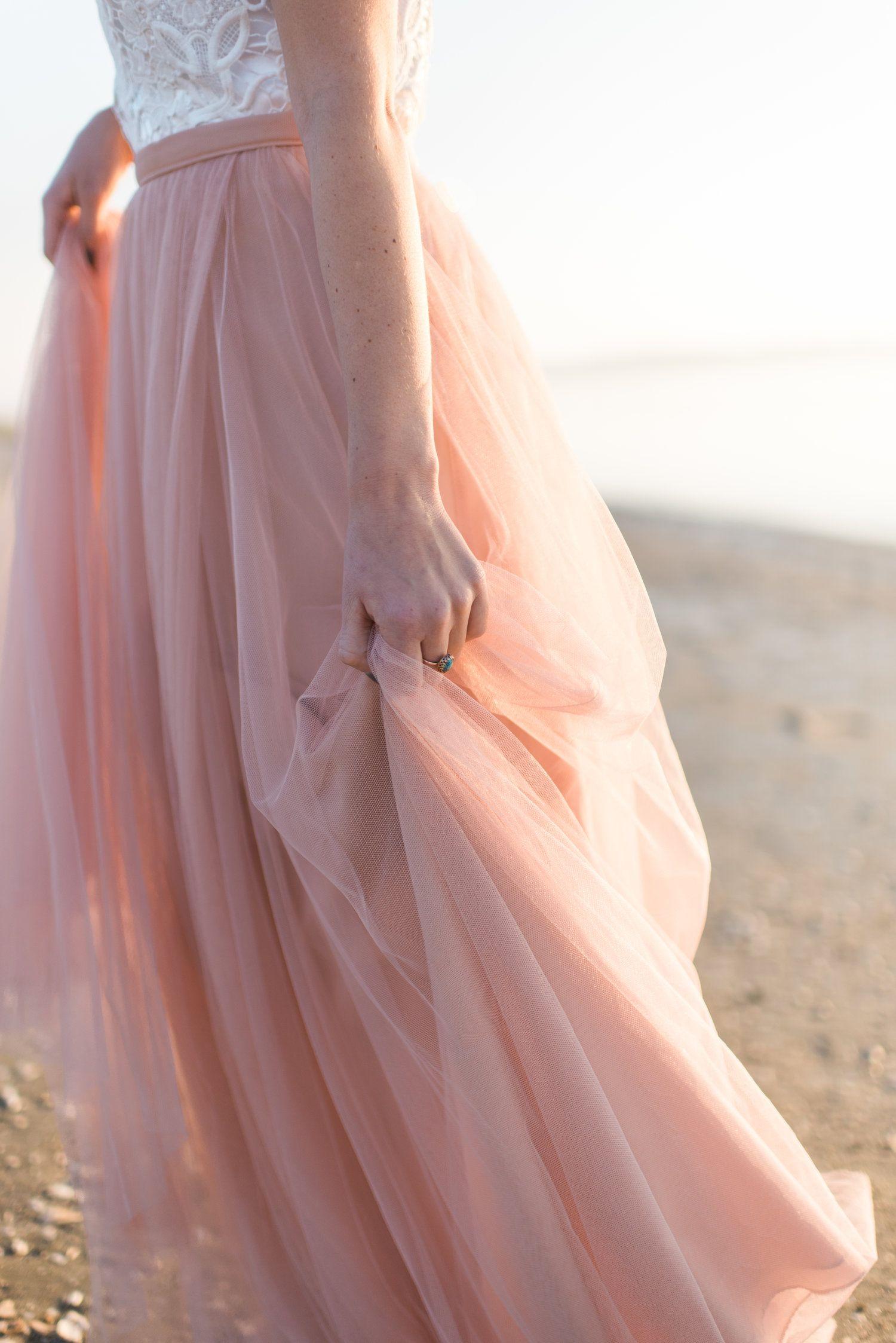 Pink coastal bridal inspiration bridal shoot modern wedding