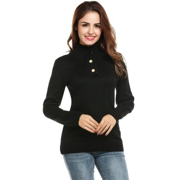 22bb50f6db Dresslink - Dresslink Zeagoo Black Women Turtleneck V-Neck Button Long  Sleeve Solid Slim