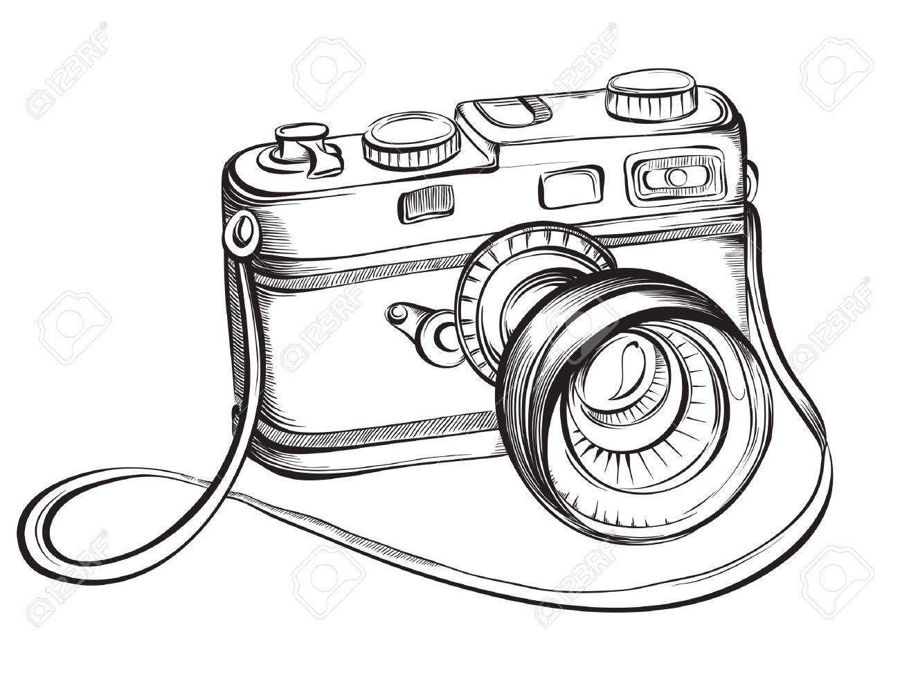 Sketch Vintage Retro Fotokamera Vector Hand Gezeichnete
