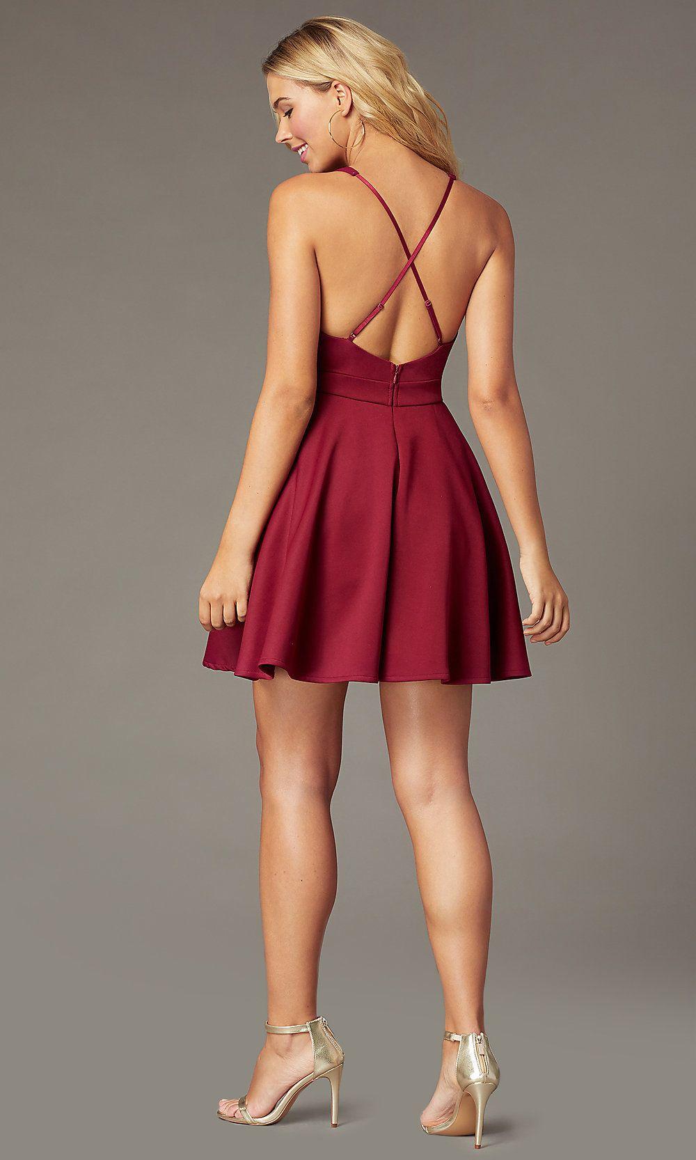 Garnet Red Tiered-Skirt Short V-Neck Party Dress