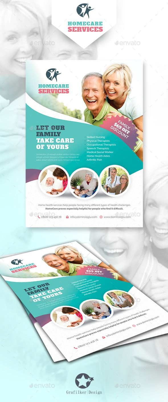 Home Care Flyer Templates | Flyer template, Graphics and Business ...