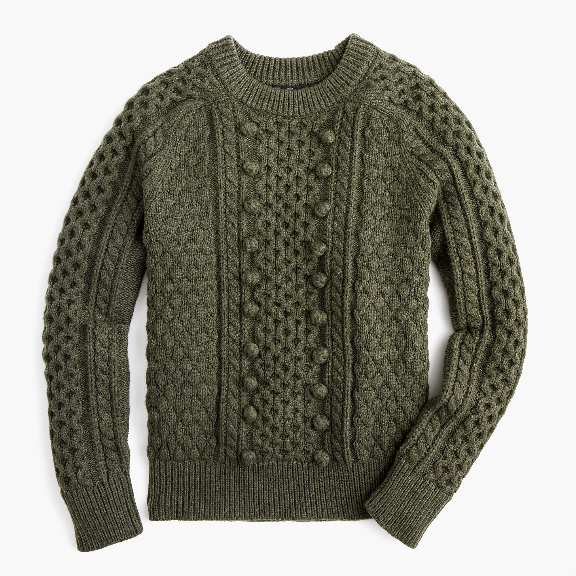 346c3e716a14 50% off code TGIF Large Heather Olive J.Crew - Popcorn cable-knit sweater
