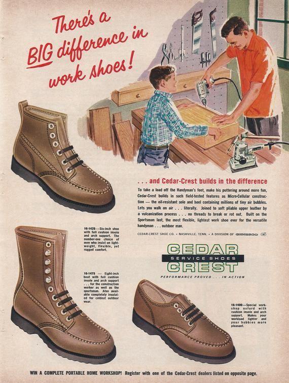 e06f24e09658c Cedar Crest Work Shoes, 1965 Vintage Shoe Ad, Mens Fashion Ad, Retro ...