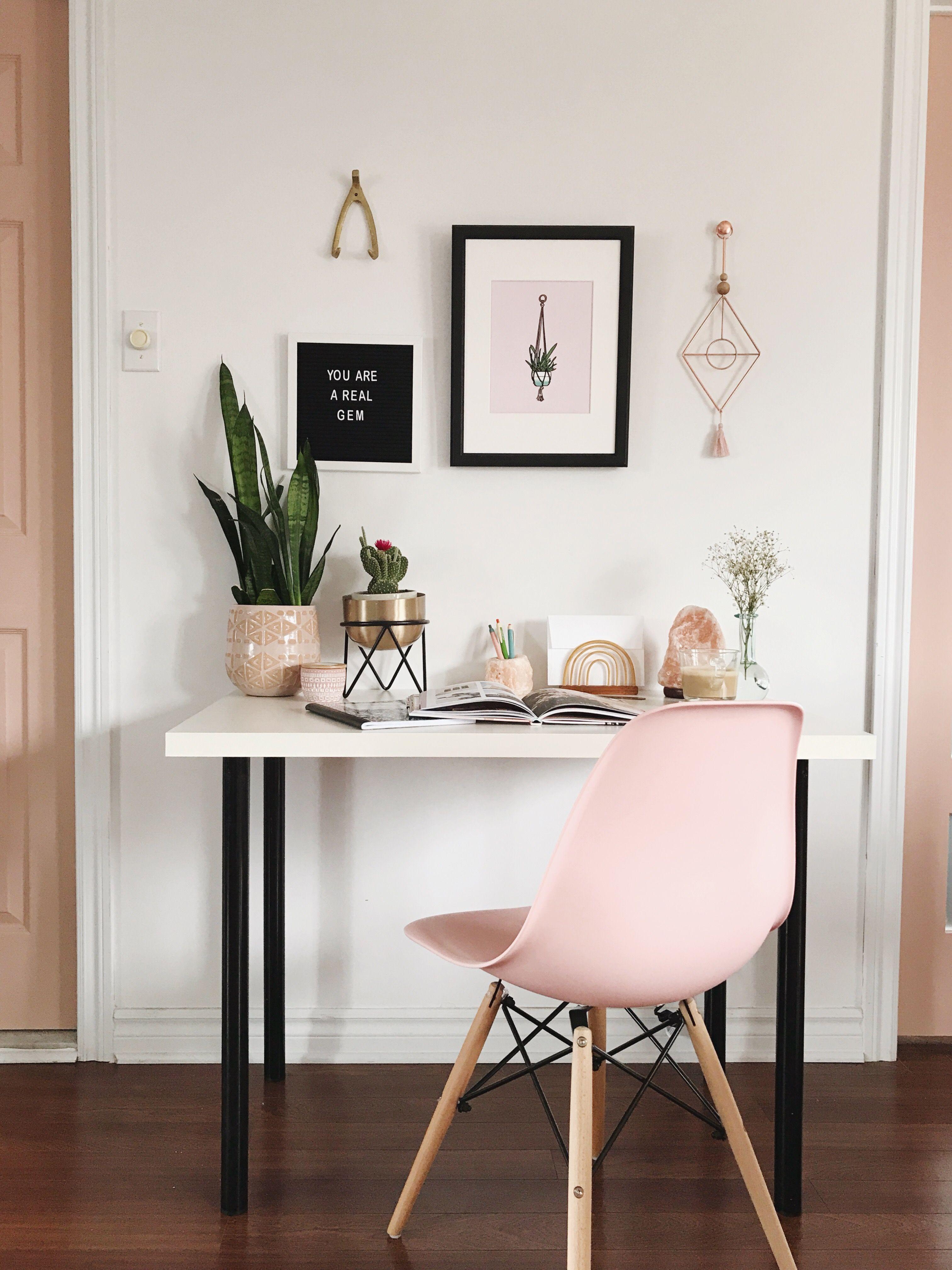 A Pink Office For The Modern #girlboss Desk For Bedroom, Room Decor Bedroom  Rose
