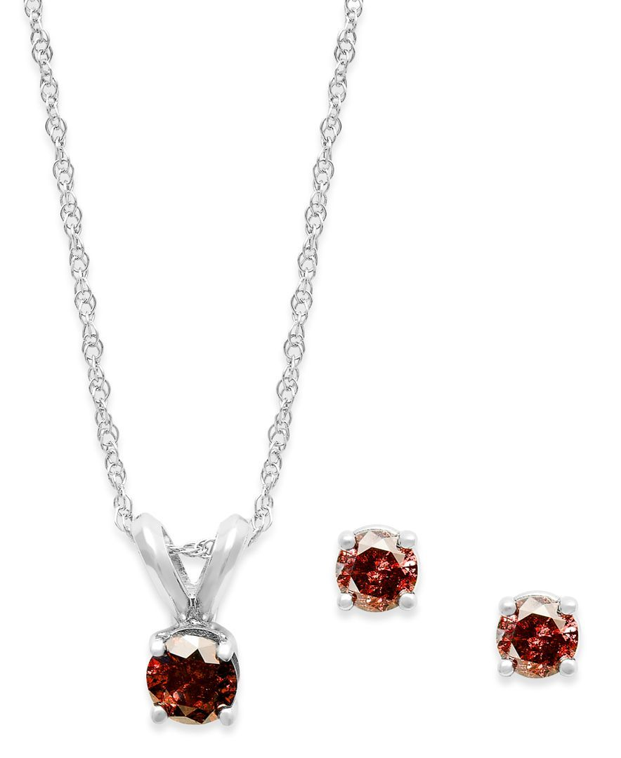 K white gold red diamond necklace and earring set ct tw