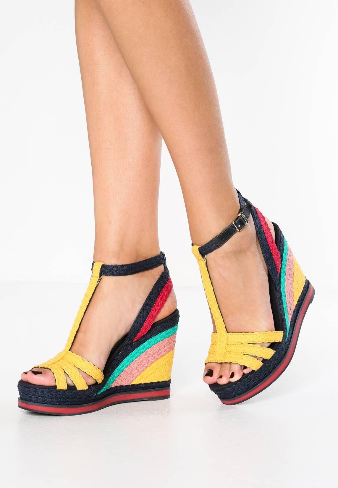 Zapatos Tacones en forma de cuña con Plataforma con Cordones Negro Cuero Sintético EU 38 MDWRq