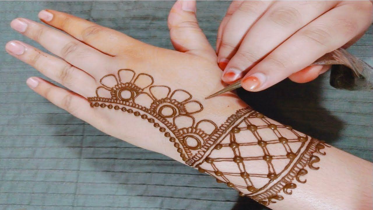 easy mehndi design of back hand