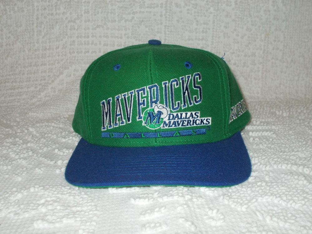 e524247782a Vintage Dallas Mavericks Green   Blue Snapback NBA Retro Throwback Cap Hat