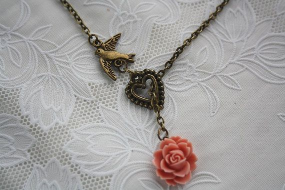 Flying bird antique rose pendant necklace adjustable love vintage romance heart charm bronze jewellery accessory gift box