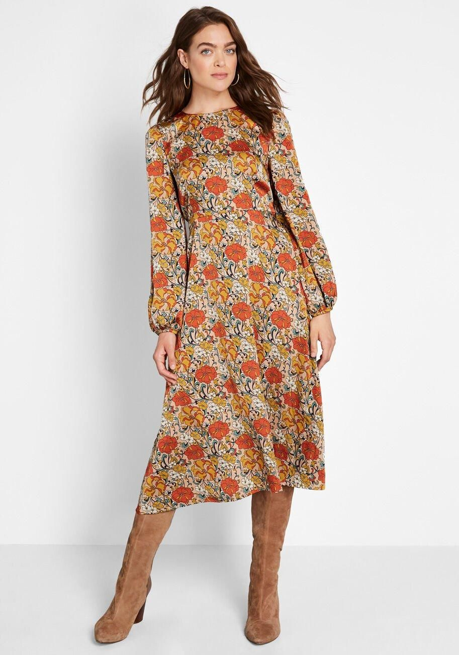 Vintage Reflections Floral Midi Dress Orange Yellow And White Flowers Detail The Lightweight And Woven Body Of This Mid Floral Midi Dress Midi Dress Dresses [ 1304 x 913 Pixel ]