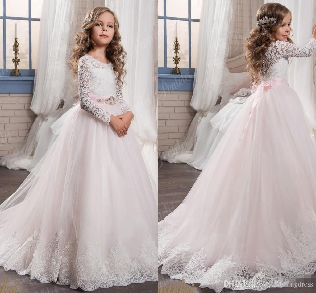 Floral Pink Lace Flower Girl Dresses Long Sleeves 2017