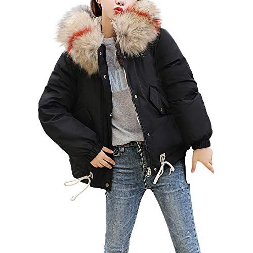 8c8c4cda7c94 PASATO Women Hooded Solid Outwear Warm Coat Thicker Fur Collar ...