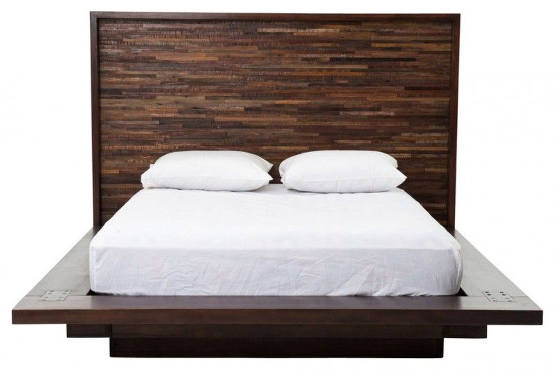 Rustic Modern Dark Brown Wooden Platform Bed With Reclaimed Wood Headboard Of Frame To Complete