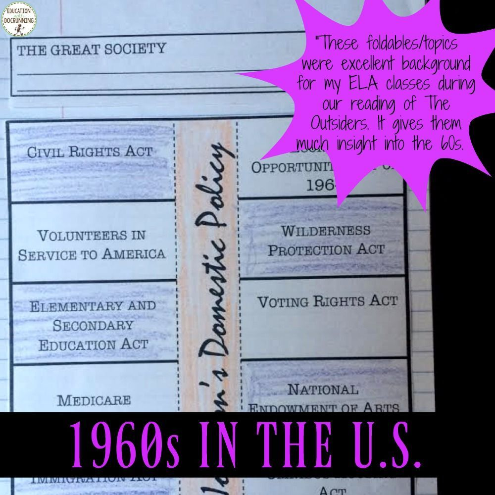 Schools Education6 25 18students: The 1960s Interactive Notebook Graphic Organizers For The