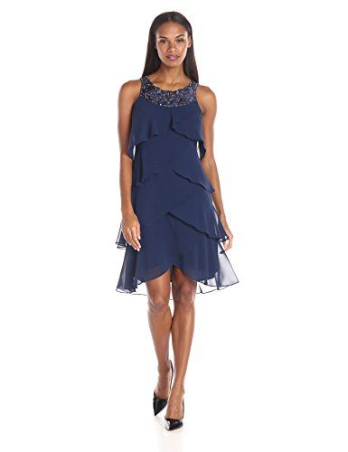 S.L. Fashions Women\'s Cut Out Embellished Neck Tiered Dress, Navy ...