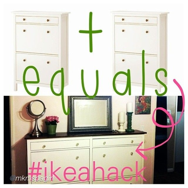 The Hemnes Shoe Cabinet From Ikea Usa Doubled To Make One Large Piece Added A Custom Wood Top And Vintage Gl S For Completely Chic Ikeahack