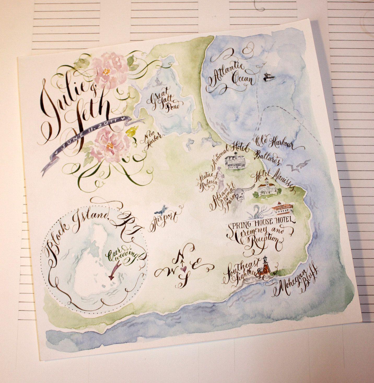 Wedding Map Watercolor Wedding Map Invitation Map Illustration