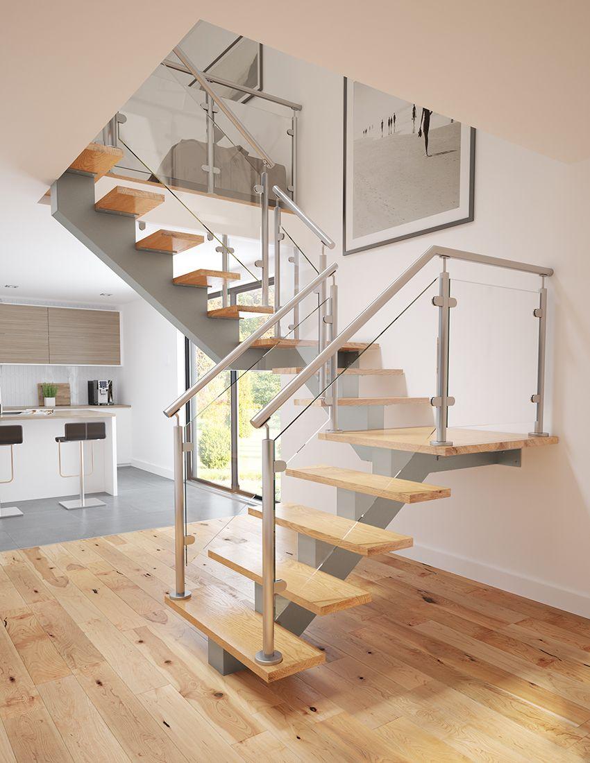 Escalier contemporain - amalgame de bois, verre et métal. Limon ...