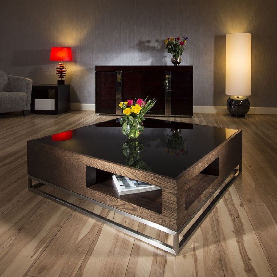 Modern Designer Large Big Square Coffee Table 1 1mtr Elm Steel
