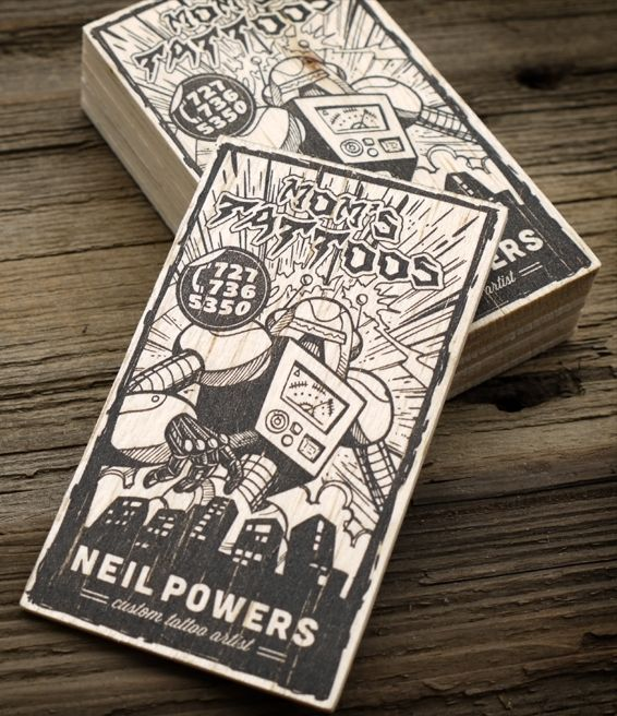 tattoo artist business card with awesome illustration - Tattoo Artist Business Cards