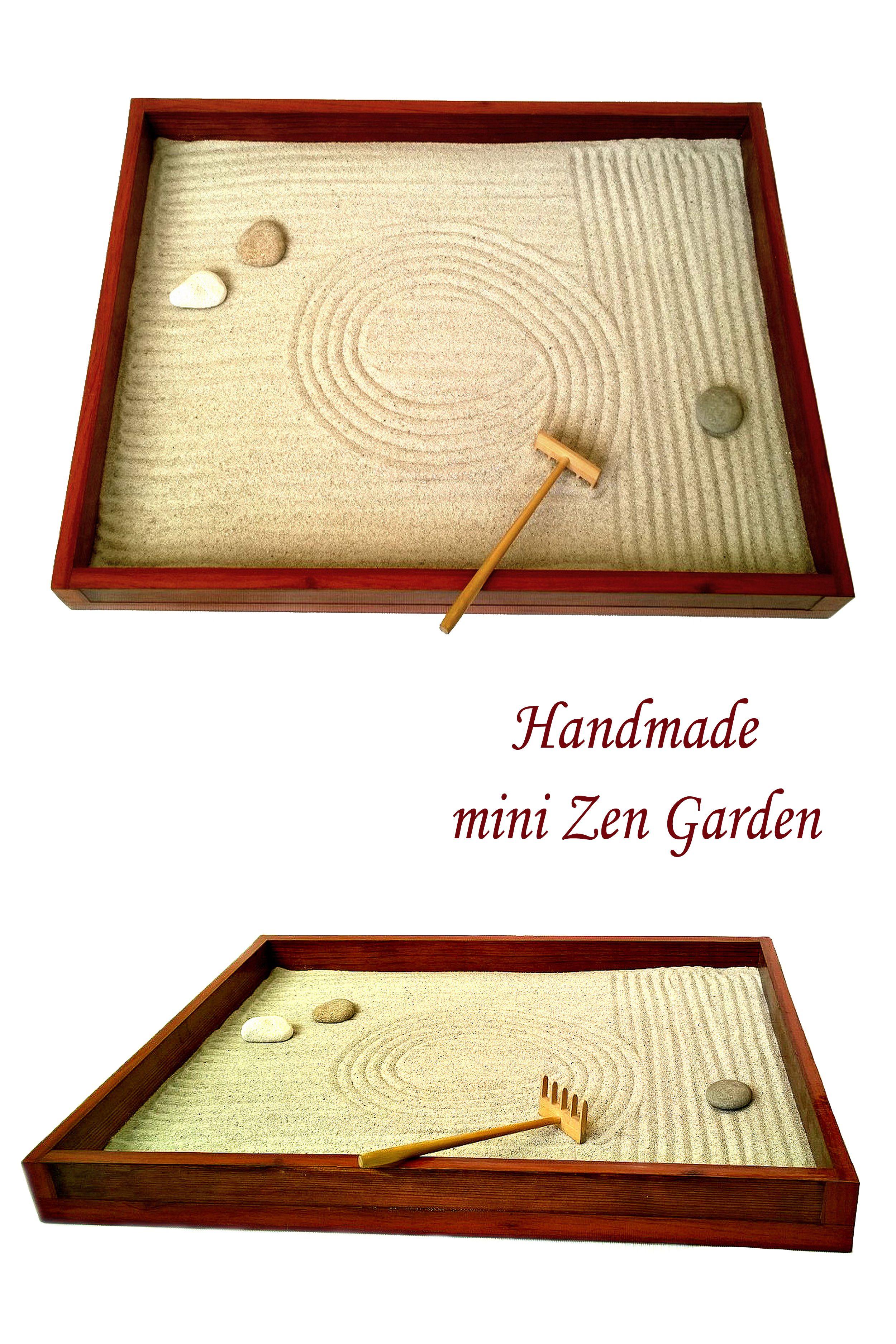 Natural Wood Handmade Zen Garden Perfect Decorative Iteam For Home Or Office Rakes Stones And Sand Are Also Included Zen Garden Mini Zen Garden Wooden Decor