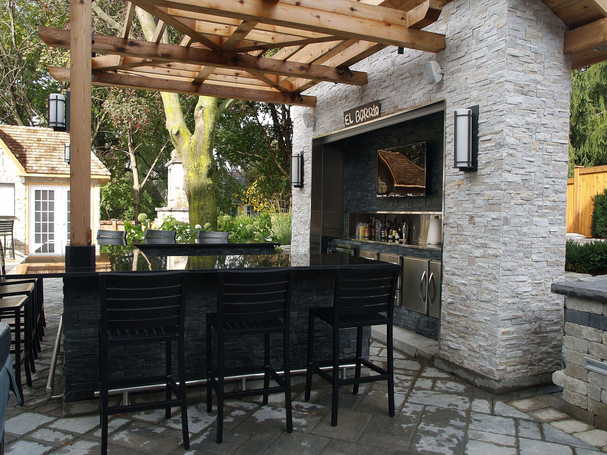 Outdoor Bar Modern Twists With Quartzite Stone Tiles Toronto Barrie Ottawa