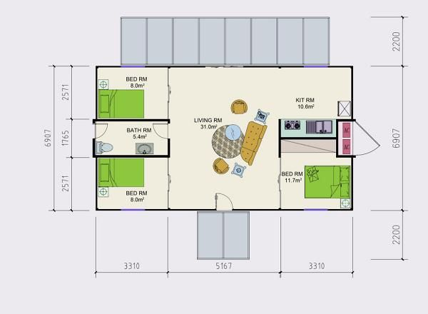 Plano de casa de tres dormitorios con dos containers de 40 - Casa container espana ...