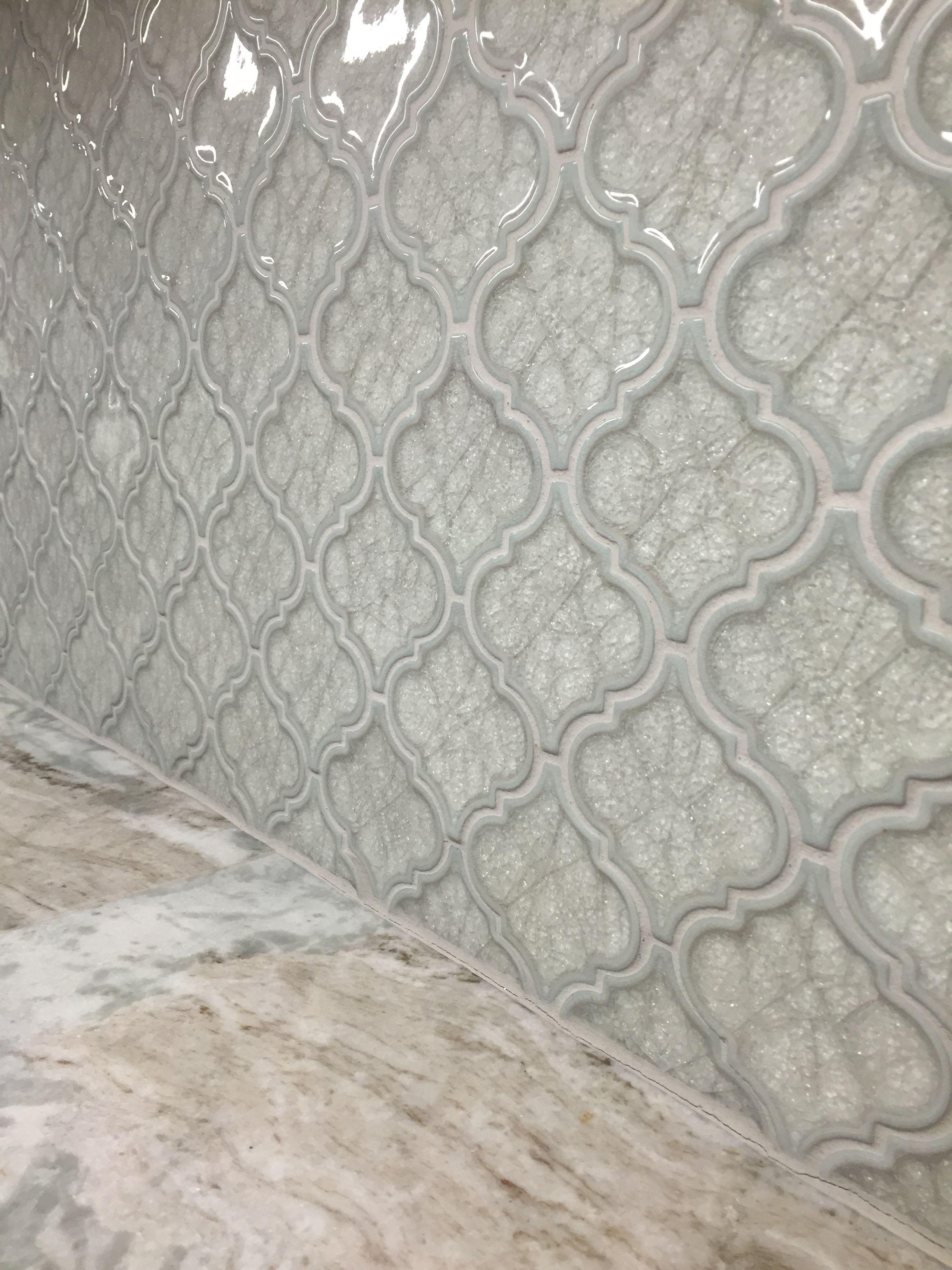 - Crackled Glass Arabesque Tile With Fantasy Brown Quartzite