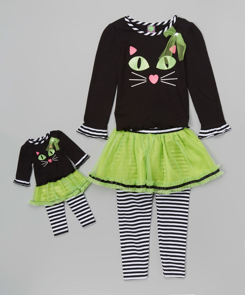 68ff0826756af Another great find on #zulily! Dollie & Me Green & Black Cat Tunic Set & Doll  Outfit - Toddler & Girls by Dollie & Me #zulilyfinds