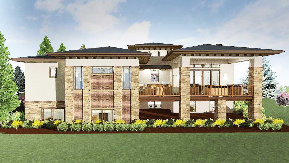 plan 64421sc modern prairie house plan for a rear sloping lot