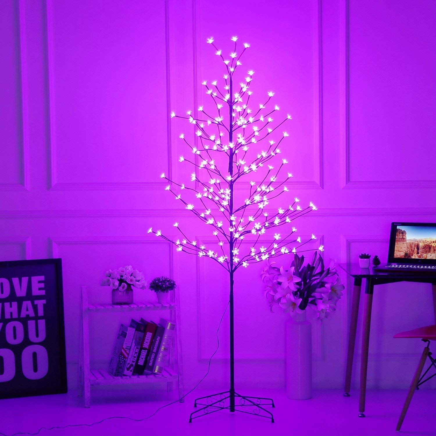 Amazon Com Bolylight Led Cherry Blossom Tree 6ft 208l Indoor And Outdoor Decoration Lighted Tree For Bedroom Party Wedding Offi Deco Chambre Decoration Deco
