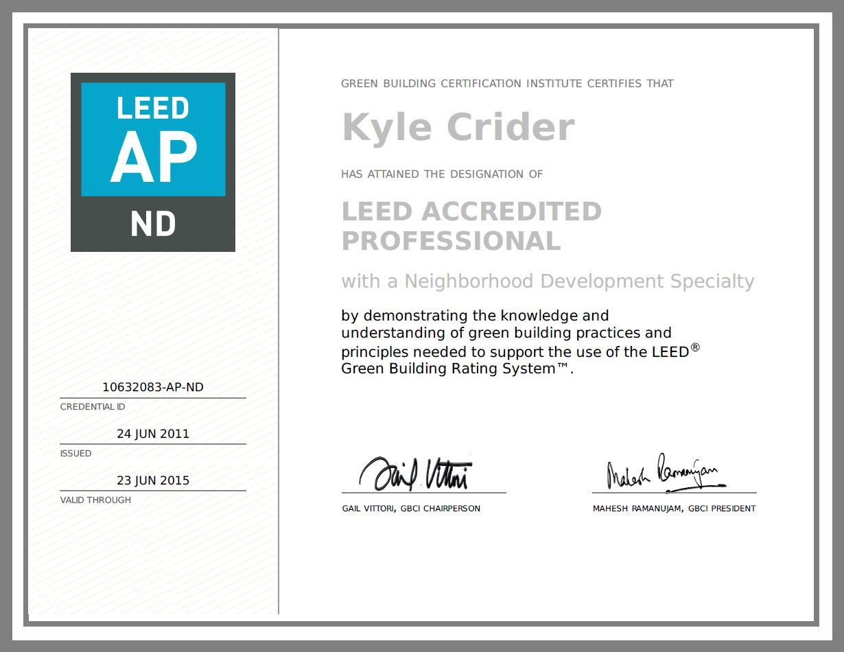 Leadership In Energy And Environmental Design Accredited Professional Neighborhood Development Leed Ap Nd