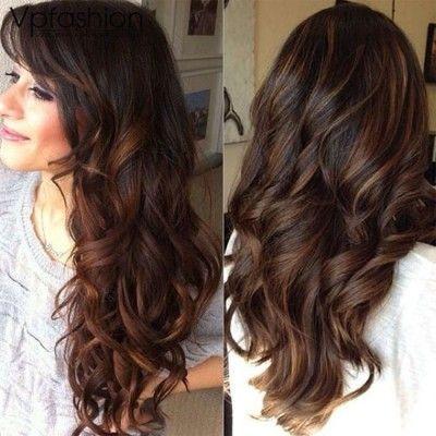 Light Brown Balayage Indian Remy Clip In Hair Extensions Hsebb Black Hair Balayage Dark Hair With Highlights Balayage Hair Dark