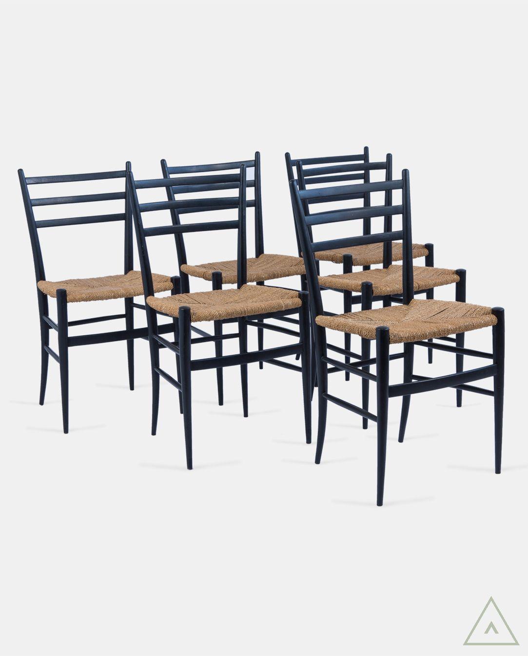 Set Of Six Mid Century Ebonised And Rattan Weave Dining Chairs  # Muebles Ebenezer