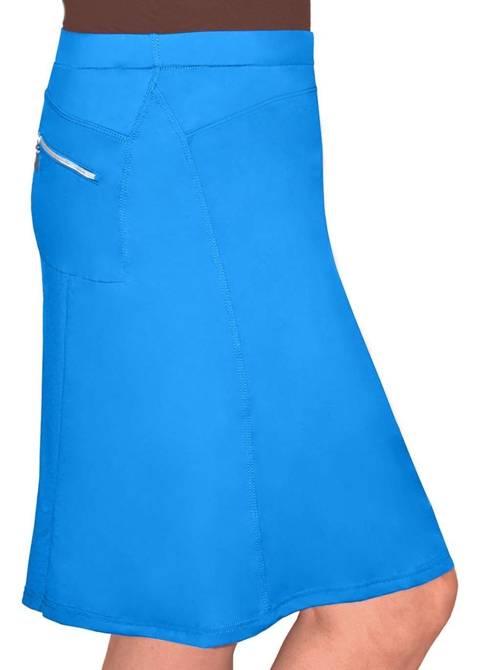 Directional Yet Demure Clothing For The Cool Modern Woman: Blue Turquoise Running/Swim Skirt With Spandex Shorts