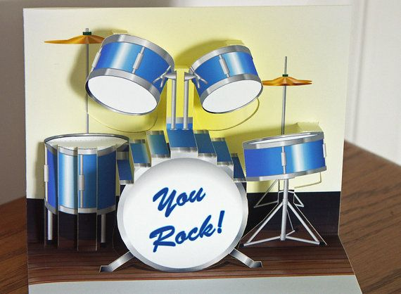 Pop up Drum set Birthday Card You Rock by CardNotions on Etsy – Birthday Card Sets