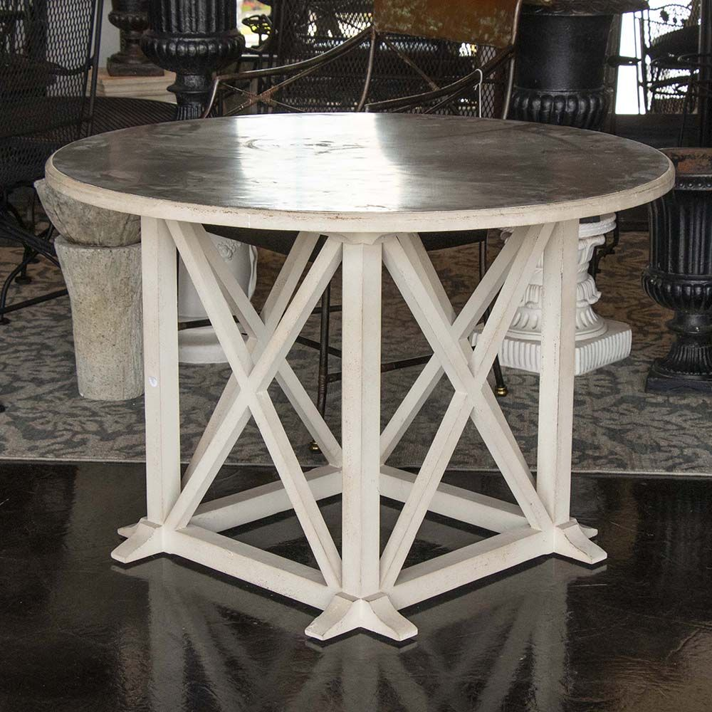 Pedestal Style Table Has A Post Style Base With X Stretchers And An Off White Finish The Round Galvanized Top Adds An Indus Pedestal Table Table Table Style