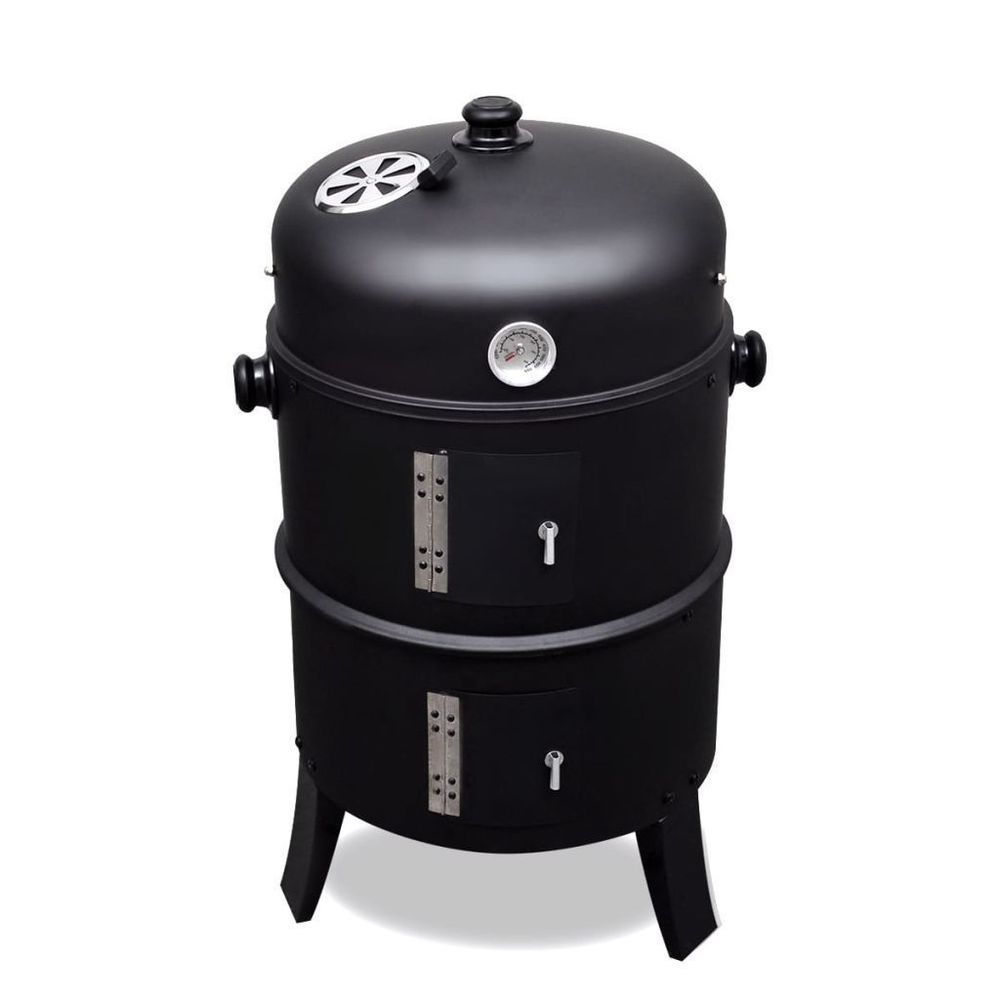 iron smoker barbecue coal wood black colour roast grill outdoor
