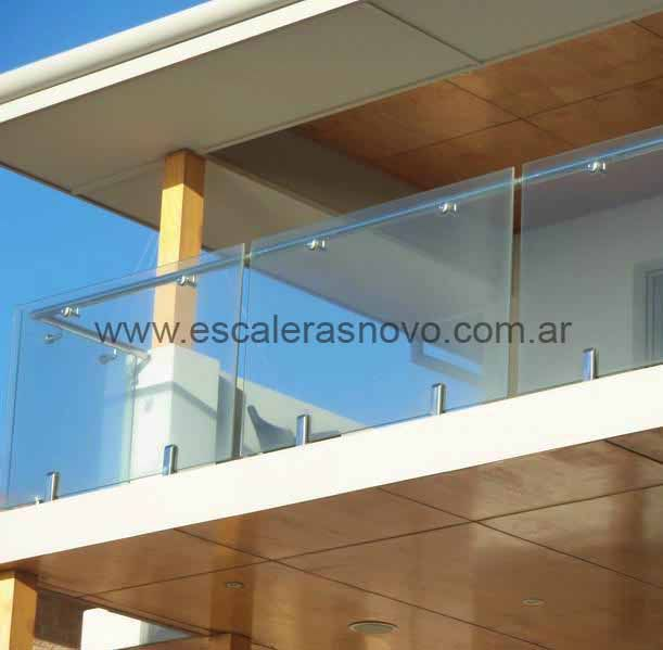 Baranda de acero con vidrio templado mod 25 escaleras - Barandas de terrazas ...