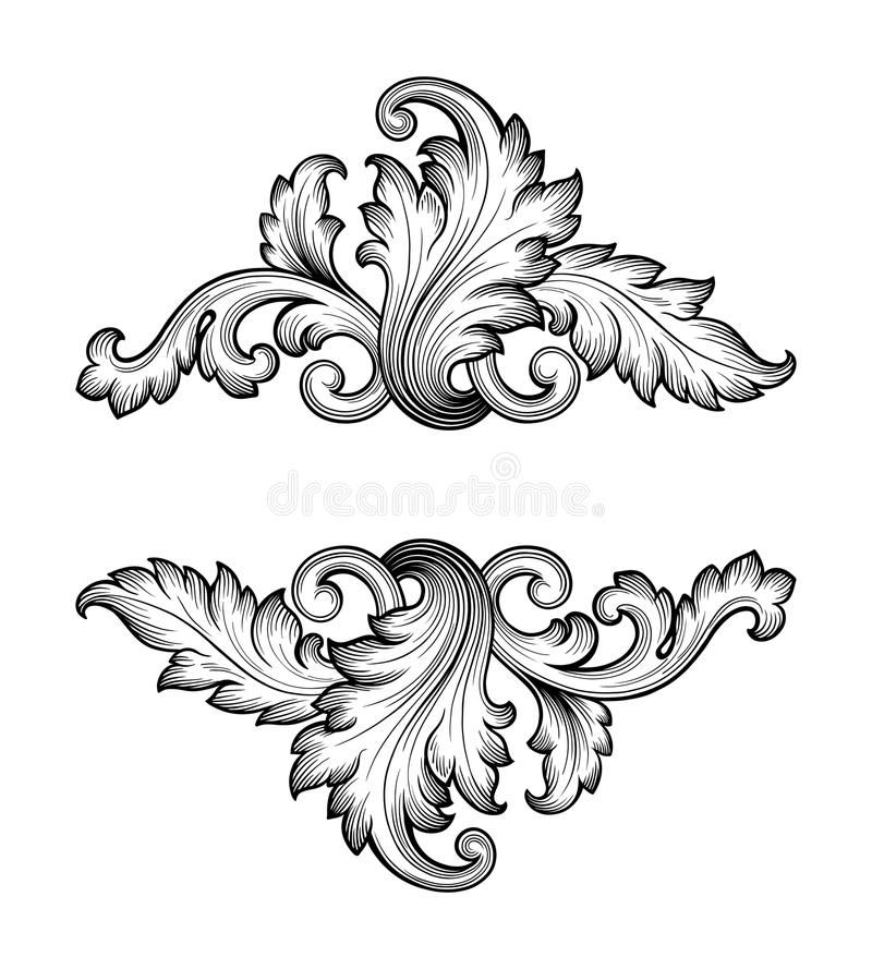 Vintage Baroque Frame Scroll Ornament Vector Photo About Flourish Decorative Calligraphy Luxury Border F Baroque Frames Ornament Drawing Baroque Ornament