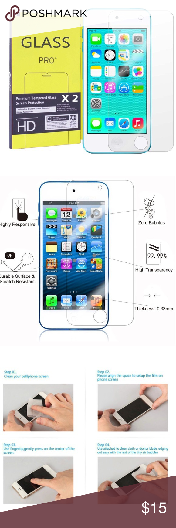 Electronics - iPod Screen Protector (x2) Anti-Scratch 9H Tempered Glass Screen Protector for iPod Touch 6 and 5 Gen - 2 Pack ✅Great deal!✅ Save with bundle discounts I also offer customized bundles  Interested? Leave a comment below  ~~~~~~~~~~~~~~~~~~~~~~~~~~~~~~ apple Accessories Phone Cases