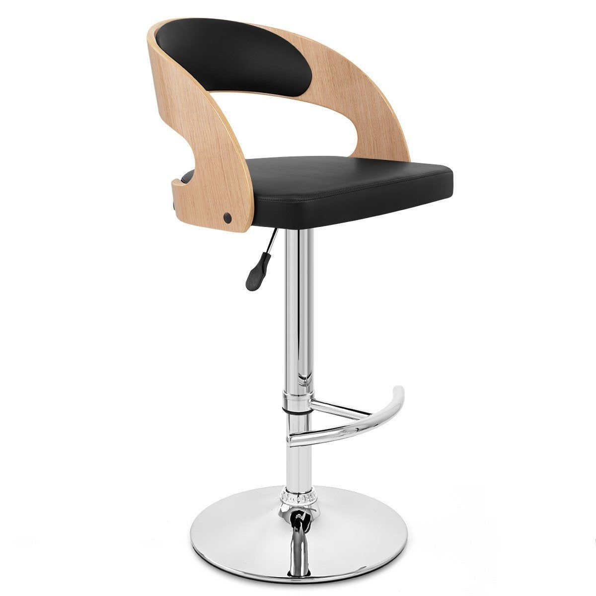 Tabouret De Bar Design Simili Cuir Noir Eve Mdt Tabouret De Bar Design Tabourets De Cuisine Du Bar