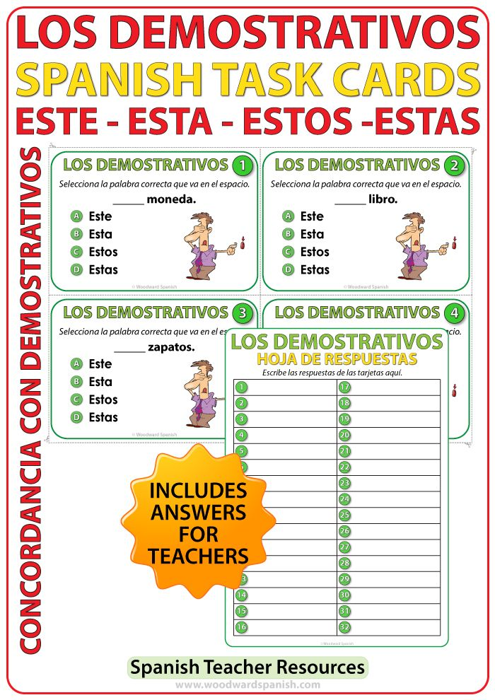 Los Demostrativos Este Esta Estos Estas Spanish Task Cards Demonstrative Adjectives Spanish Teacher Resources Task Cards Spanish Classroom Activities