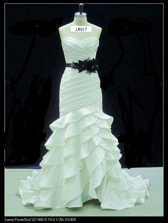 Strapless black and white wedding dresses with tiered ruffle skirts ...
