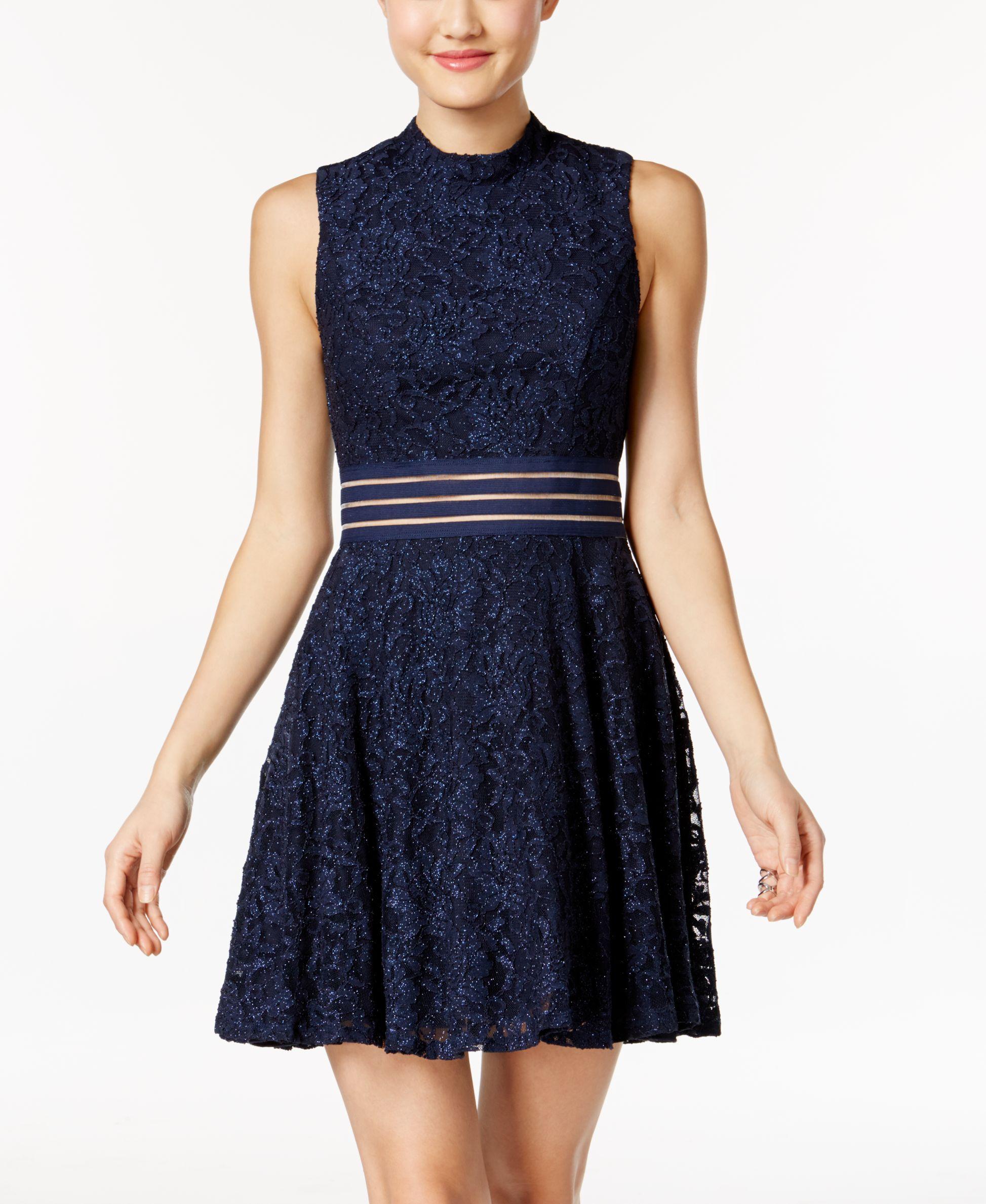 City studios juniorsu glitter lace illusion party dress products