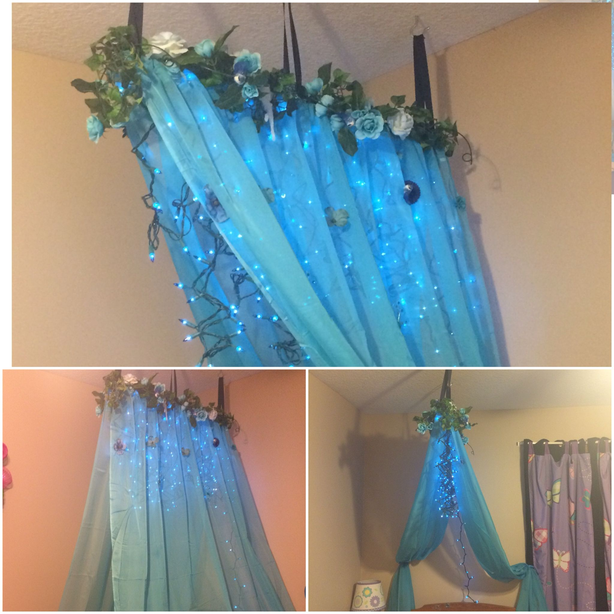 Woodland Fairy Canopy Made From Curtains Bought At Hobby Lobby