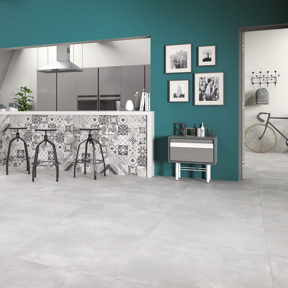 Carrelage Imitation Carreaux De Ciment 60x60 Cementine Grey Rect