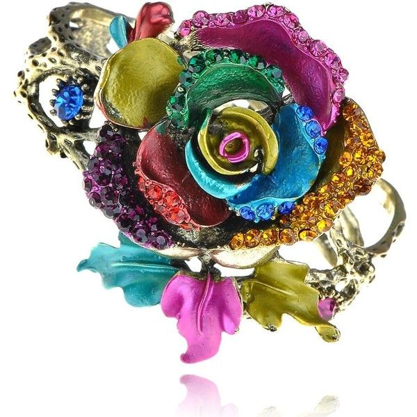 Amazon.com: Colorful Abstract Enamel Paint Crystal Rhinestone Rose... ($9.95) ❤ liked on Polyvore featuring jewelry, bracelets, bangle bracelet, hinged cuff bracelet, crystal jewelry, bangle cuff bracelet and enamel bangle bracelet