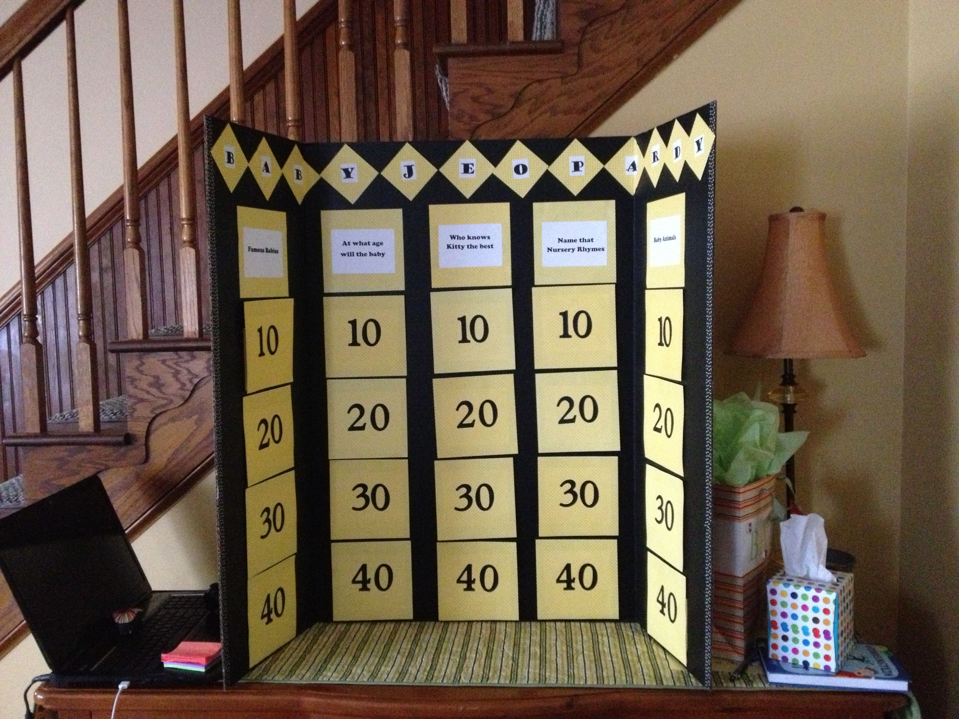This is the baby jeopardy board I made for my best friend baby